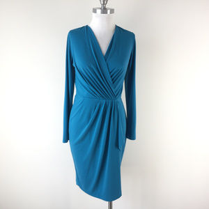 Cache M Turquoise Faux Wrap Sheath dress long slv
